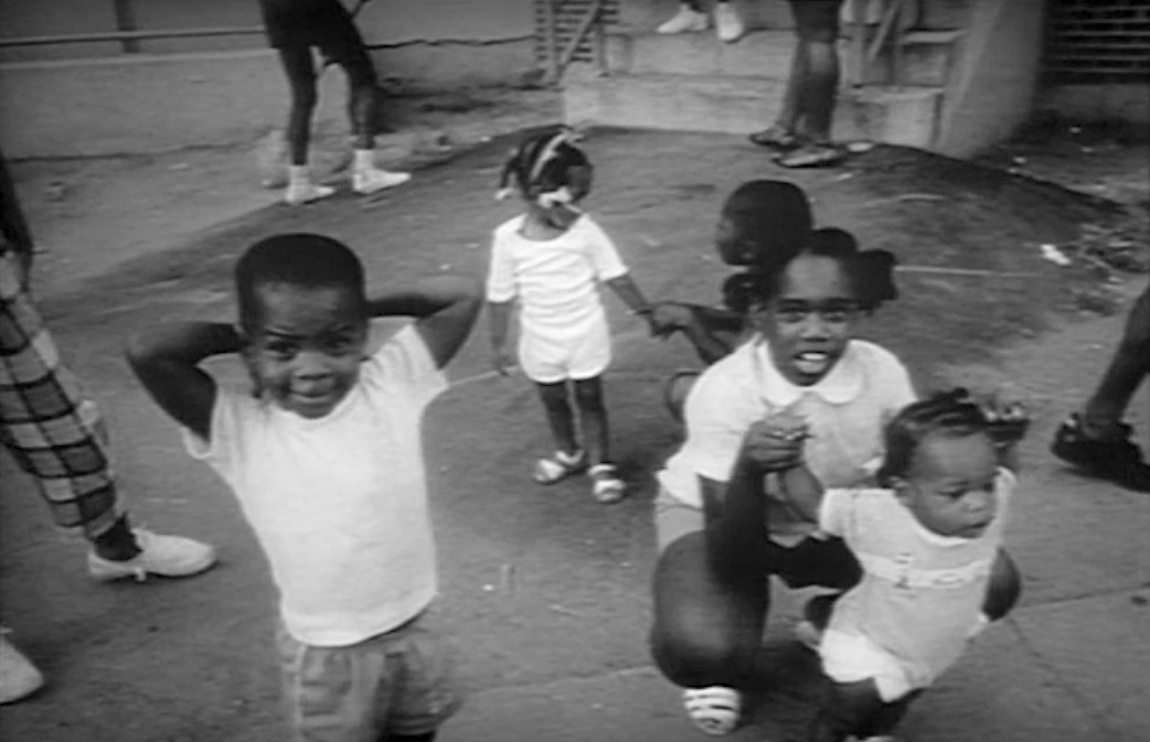 children at play at Columbia Point circa 1987